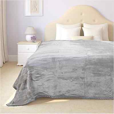 Mink Blanket Singe Queen King Size Soft Plush Bed Faux Throw Rug Light Grey