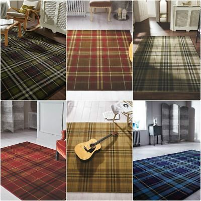 Tartan Hard Wearing Quality Checkered Rug Soft Touch Red Green Beige Black Blue