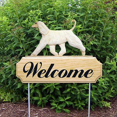 Afghan Breed Oak Wood Welcome Outdoor Yard Sign Cream