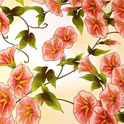 Large Lovely Morning Glory Floral Peach on Ivory Cotton Fabric by Benartex