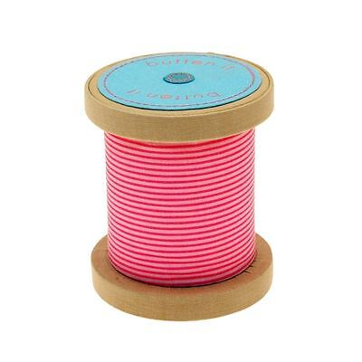 Button It Pink Stripe Bobbin Novelty Pin Cushion