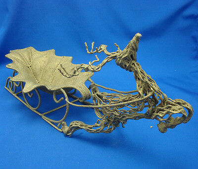"""16½"""" grape leaf gold sleigh pulled by twisted metal grapevine reindeer"""