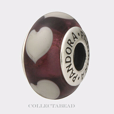 30b7c4c1b Authentic Pandora Silver Murano Violet Love Grey Hearts Bead 790659  CLEARANCE!