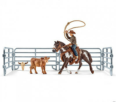 Schleich 41418 Team Roping Rodeo Model Horse with Calf Set Toy Figurine - NIB