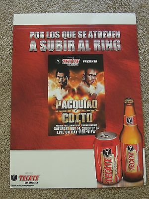 2009 Manny Pacquiao vs Miguel Cotto Tecate Beer Store Display Sign