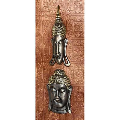 Set of 2: Spiritual Asian Metallic Ebony & Antique Gold Buddha Wall Sculpture
