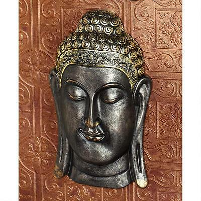 Spiritual Asian Metallic Ebony & Antique Gold Buddha Bodh Gaya Wall Sculpture