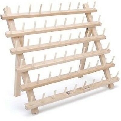 60 Spool Wooden Thread Rack For Small Thread Cones, Embroidery Spools