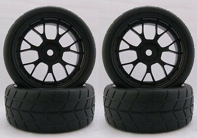 4PCS RC 1/10 Soft Rubber  Tires Tyres Wheel Rim For On Road Car 22019B