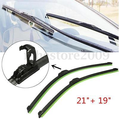 1 Pair 21'' + 19'' Black Universal J-Hook Car Windshield Wiper Blade Bracketless