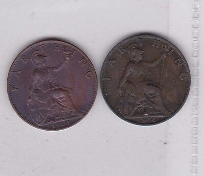 1900 & 1901 Victoria Bronze Farthings In Extremely Fine Condition