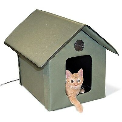 Heated Outdoor Kitty House. Cat Warm Waterproof Outside Shelter Garage Pet Condo