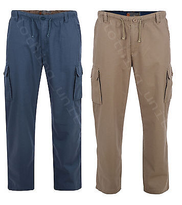 Mens KAM BIG SIZE Elasticated waist casual Cargo 100% Cotton Trousers 2-8XL