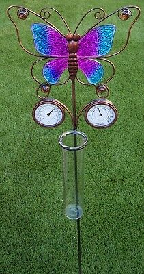 """Rain Gauge Thermometer Humidity Butterfly NEW 38"""" tall metal measures 7"""" / 18cm"""