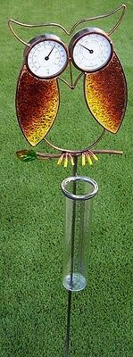 "Rain Gauge Thermometer Humidity Owl NEW 38"" tall metal measures 7"" / 18cm"