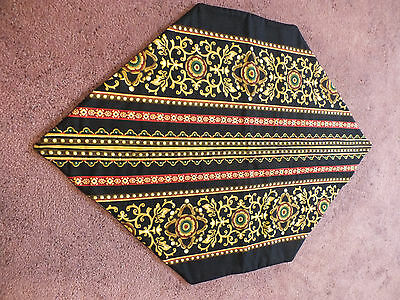 Collectible Handmade Sewn Quilted Table Linen Black Gold Red Green 25 x 17.5