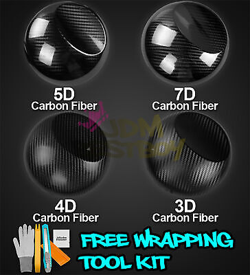 * 3D 4D 5D 7D Premium Matte Gloss Semi Black Carbon Fiber Vinyl Wrap Sticker
