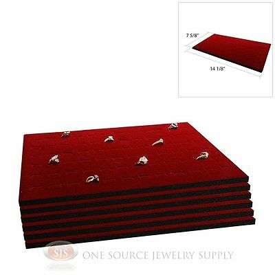6 Burgundy Ring Display Pads Holds 72 Slot Rings Tray or Case Jewelry Insert