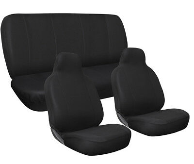 Car Seat Covers Solid  Black Complete Full Set For Auto Vehicle Upholstery