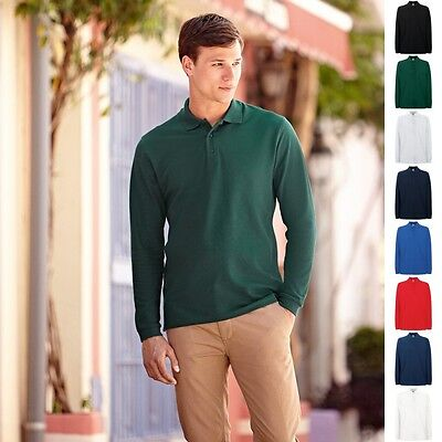 Fruit of the loom Langarm Poloshirt Premium Polo Shirts 100% Baumwolle S-3XL