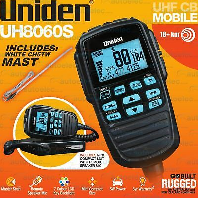 Uniden Uh8060S Uhf Cb Radio+Ch5T Antenna Mobile Remote Speaker Microphone White