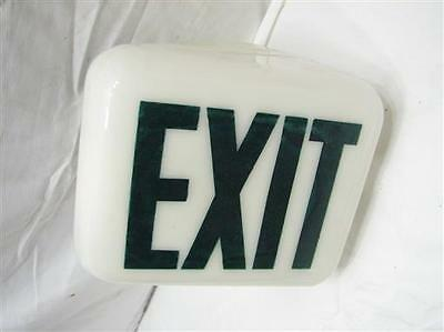 Milk Glass Globe Exit Sign Light Fixture Triangular Sconce Cover Industrial