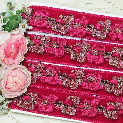 "1y VTG 1/2"" FRENCH ROCOCO TRIM VELVET RIBBON RASPBERRY CHOCOLATE DOLL DRESS ANTQ"