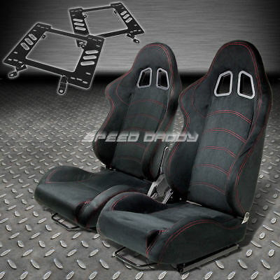 Pair Type-1 Reclining Black Suede Racing Seat+Bracket For 79-98 Ford Mustang
