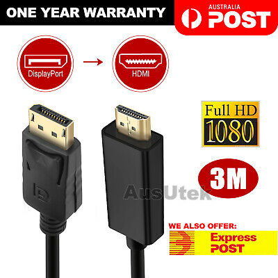 3M Displayport Display Port DP to HDMI Cable Male to Male Full HD High Speed
