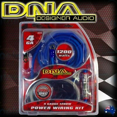 Dna 1200W Car Audio 4 Channel Power Amplifier Amp Wiring Rca Kit Cable Rca Ak44