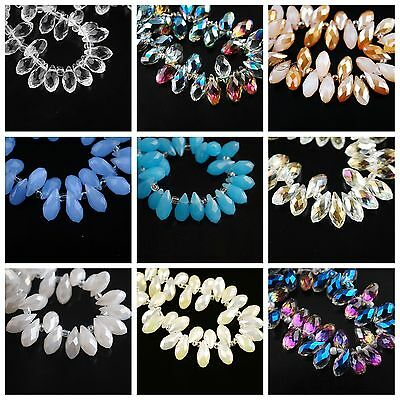 50pcs Charms Faceted Crystal Glass Teardrop Pendants Loose Finding Beads 6x12mm