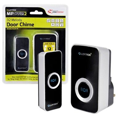 32 Chime Wireless Door Bell Cordless 100M Range Quality LLOYTRON Melody Black