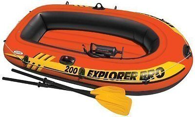 """Intex Inflatable Boat With Pump & Oars Explorer Pro 200 Dinghy Set 77"""" 40"""" 13"""""""