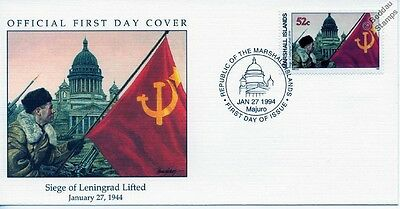 1944 SIEGE OF LENINGRAD LIFTED (Soviet Flag St Isaac's Cathedral) WWII Stamp FDC