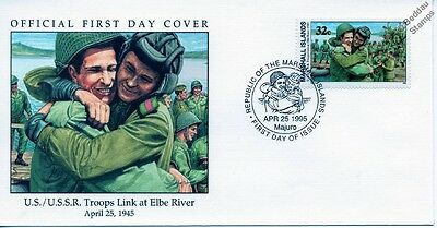 1945 US & RUSSIAN TROOPS MEET AT RIVER ELBE WWII Stamp FDC