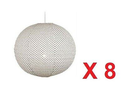 Wholesale Job Lot 8 x Large Fabric Polka Dot Pendant Lamp Light Shade Lampshade