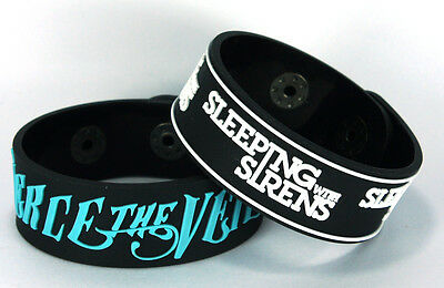 PIERCE THE VEIL SLEEPING WITH SIRENS 2x Rubber Bracelet Wristband ww60 Mix