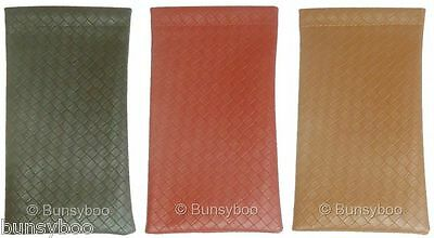 Glasses Soft Case Sunglasses Leather Look Slim Pouch Spring Top - Brown Tan Red
