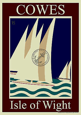 VINTAGE POSTER Cowes Isle of Wight ART DECO RAILWAY ADVERTISING Print A3 A4