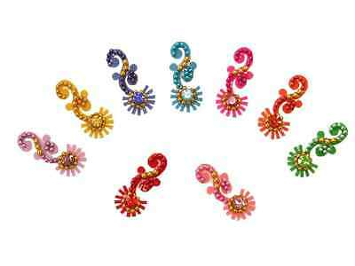 Brightly Colored Crystal Bindi Traditional Indian Body Stickers
