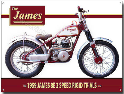 James 8E 3 Speed Rigid Trials Motorcycle Metal Sign (A3) Size1959 Trial Classic.