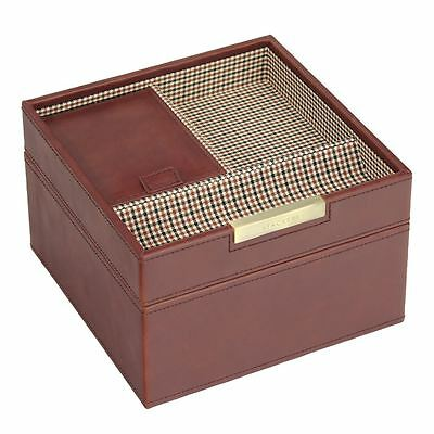 Stackers by LC Designs Gents Square Tan/Check Set of 2 Trays