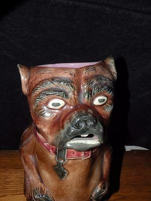 "Antique Majolica Pug Dog Pitcher 11.50"" Tall Large"