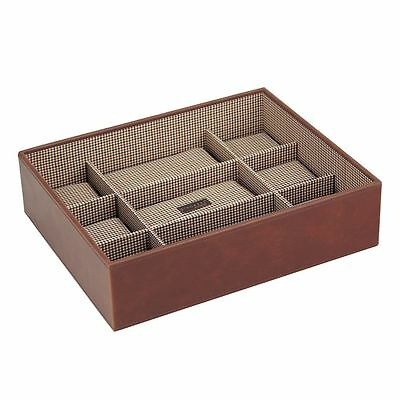 Stackers by LC Designs Tan/Check Watch Open 15 Piece Watch Tray