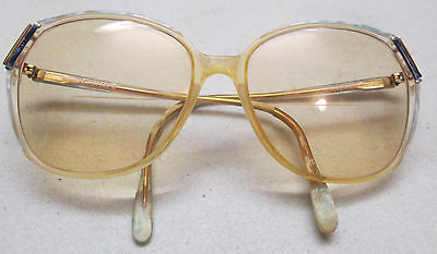Vintage Sophia Loren 588 Bifocal Sunglasses Eyeglasses Blue Gold Frame Yellow