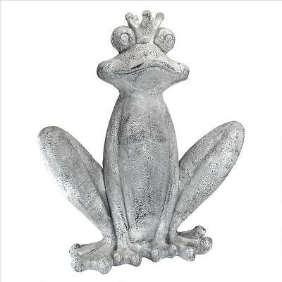 The Frog Prince Fairytale Sculpture Garden Pond Frog Pool Patio Statue 28.5""