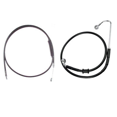 """Black Cable & Brake Line Bsc Kit 16"""" Apes 2016-2017 Harley Softail w/ABS"""
