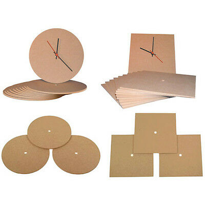 2 x Blank MDF Clock Face Round or Square Craft School Club Activity Curriculum