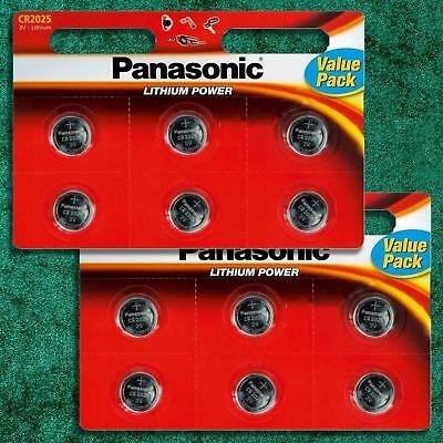 12 x Panasonic CR2025 3V Lithium Coin Cell 2025 Batteries Alarms Glucose Monitor