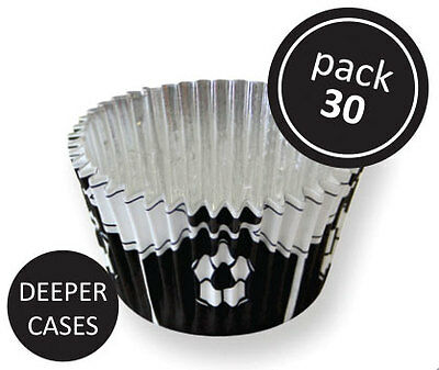 PME 30pk Black Football Foil Standard Cupcake Cup Cake Muffin Party Baking Cases